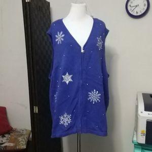 Gorgeous embellished Christmas vest sz 3X